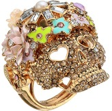 Betsey Johnson Rose Gold/Pink Skull Flower Ring