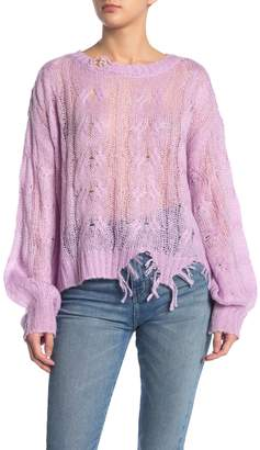 KENDALL + KYLIE Ripped Knit Sweater Top