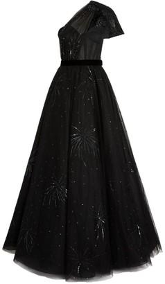 Azzi & Osta Firework-Embellished One-Shoulder Gown