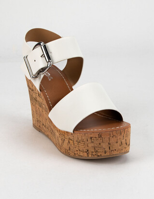 Soda Sunglasses Ankle Strap Cork White Wedges