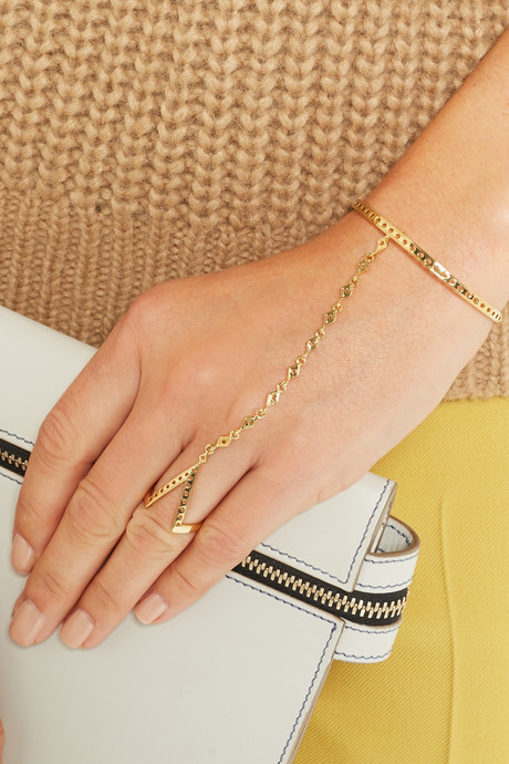 Arme De L'Amour V Dots gold-plated finger bracelet