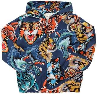 Gucci Animals Printed Nylon Windbreaker Jacket