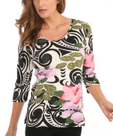 Le Mieux Pink & Green Floral Swirl V-Neck Top