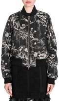 Alexander McQueen Ruched-Sleeve Bomber Jacket