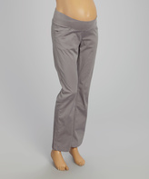 Gray Twill Under-Belly Maternity Pants