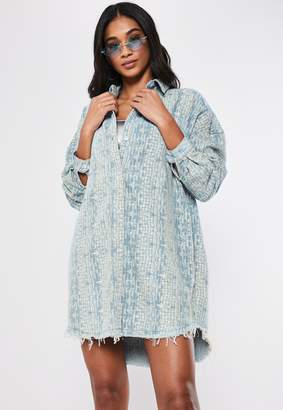 Missguided Blue Denim Croc Oversized Shirt Dress