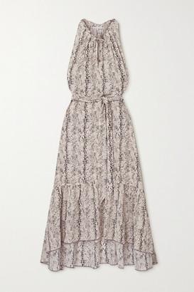 Heidi Klein Belted Tiered Snake-print Silk Crepe De Chine Midi Dress - Beige