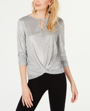 INC International Concepts Inc Shiny Twist-Front Cutout Top, Created for Macy's