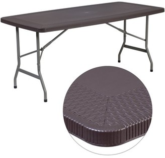 Flash Furniture 32.5''W x 67.5''L Brown Rattan Plastic Folding Table