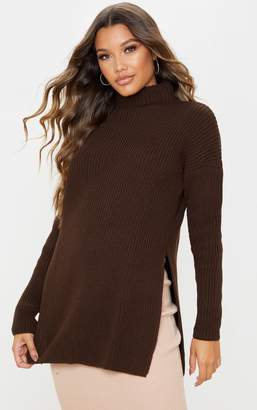 PrettyLittleThing Bottle Green High Neck Oversized Jumper