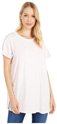 Mod-o-doc Slub Jersey Short Sleeve Tunic with Gauze Back (Pale Pink) Women's Clothing