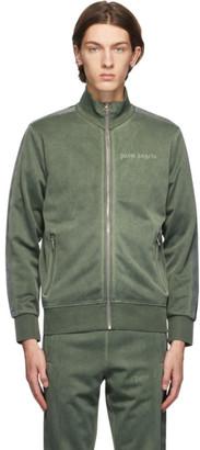 Palm Angels Green Garment-Dyed Logo Track Jacket