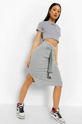 boohoo Soft Ribbed Wrap Belt Split Hem Midi Skirt