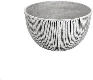 Natan Moss Ceramics Jail Bird Black & White Striped Medium Serving Bowl