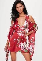 Missguided Red Silky Floral Cold Shoulder Kimono Sleeve Shift Dress