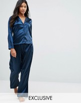 Wolfwhistle Wolf & Whistle Navy Satin Long Pajama Set