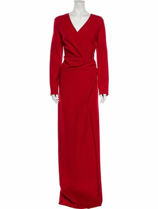 Lanvin V-Neck Long Dress w/ Tags Red