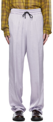 Dries Van Noten Purple Viscose Drawstring Trousers
