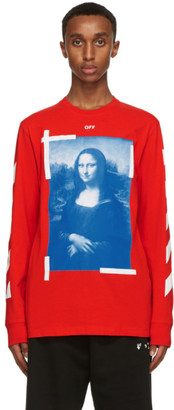 Off-White Red and Blue Mona Lisa Long Sleeve T-Shirt