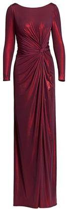 Rene Ruiz Collection Metallic Long-Sleeve Drape Side Slit A-Line Gown