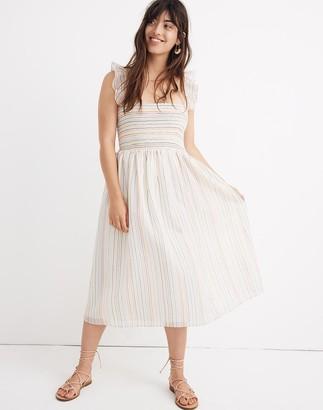 Madewell Petite Ruffle-Strap Smocked Dress in Rainbow Stripe
