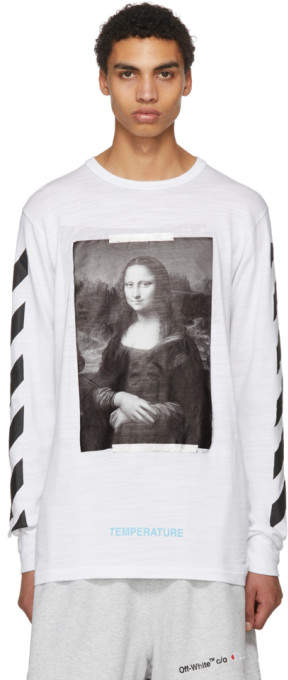 Off-White White and Black Diagonal Monalisa T-Shirt