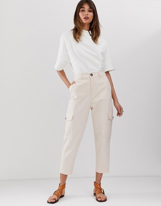 ASOS high waisted pocket pants in speckled twill