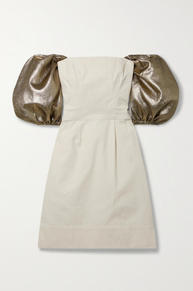 ARTCLUB Net Sustain Castello Convertible Lurex-trimmed Cotton-canvas Mini Dress