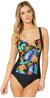 Maxine Of Hollywood Swimwear Jungle Glow Over The Shoulder Sweet-Heart Maillot One-Piece (Multi) Women's Swimsuits One Piece