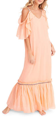 Pitusa Camille Scoop-Neck Cold-Shoulder Ruffle Maxi Dress