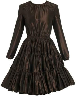 Miu Miu Tiered Silk Taffeta Long-Sleeve Dress