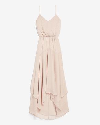 Express Metallic Clip Dot Asymmetrical Hem Maxi Dress
