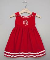 Princess Linens Red & White Monogram Dress - Infant, Toddler & Girls