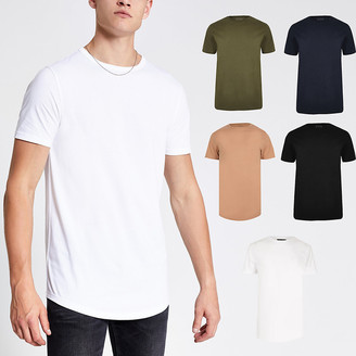 River Island Black muscle fit longline T-shirt 5 pack