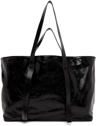 Off-White Black Leather Commercial Tote
