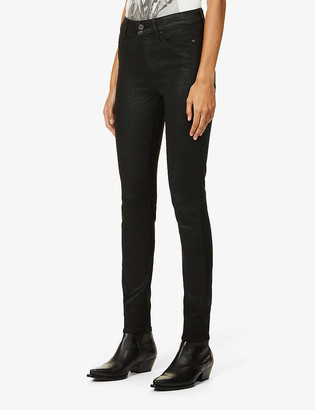Paige Hoxton Ultra Skinny croc-print skinny high-rise stretch-denim jeans