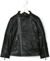 Roberto Cavalli logo print biker jacket - kids - Calf Leather/Acetate/Cupro - 6 yrs