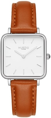 Hurtig Lane Nelio Square Vegan Leather Watch In Silver, White & Tan