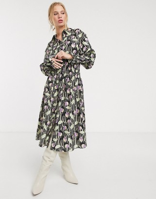 And other stories & abstract floral shirred waist midi dress in multi