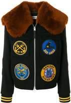 Coach patch appliqué shearling trimmed varsity bomber