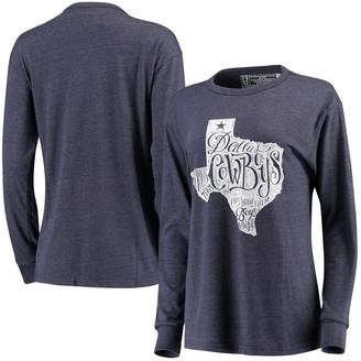 Unbranded Women's Lauren James Heathered Navy Dallas Cowboys State Mayhem Long Sleeve T-Shirt