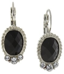 2028 Silver-Tone Black Oval with Crystal Accent Drop Earrings