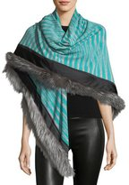 Missoni Fur-Trim Striped Stole