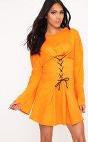 PrettyLittleThing Orange Loop Back Flared Sleeve Corset Detail Sweater Dress