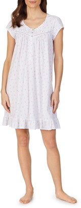 Eileen West Floral Short Sleeve Cotton Jersey Nightgown