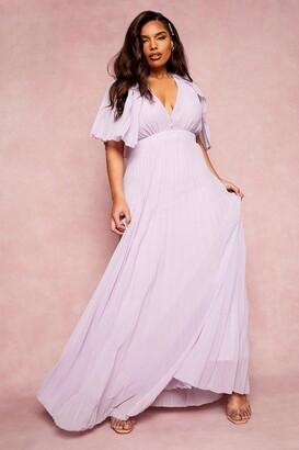 boohoo Plus Bridesmaid Pleated Cape Maxi Dress