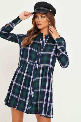I SAW IT FIRST Green Check Longline Shirt Dress