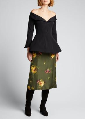 Brock Collection Floral-Print Silk A-Line Midi Skirt