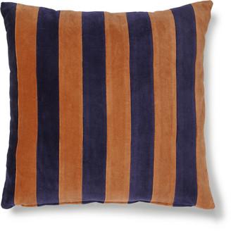 HKliving - Striped Cushion Velvet Blue/Orange 50 x 50cm - velvet | blue - Blue/Blue
