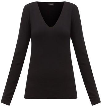 Joseph V-neck Silk-blend Jersey Sweater - Womens - Black